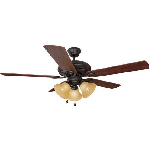 Design House Bristol 52inch 3-Light 5-Blade Ceiling Fan, Dark Mahogany Blades, Oil Rubbed Bronze Finish - 153791