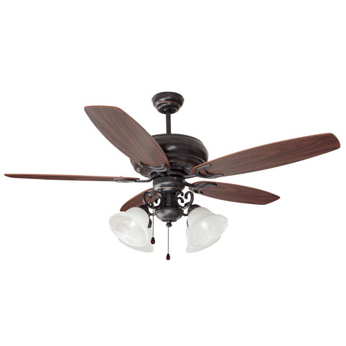Design House Drake 52 Inch 4-Light 5-Blade Ceiling Fan, Dark Mahogany or Beechwood Blades, Oil Rubbed Bronze Finish - 154005