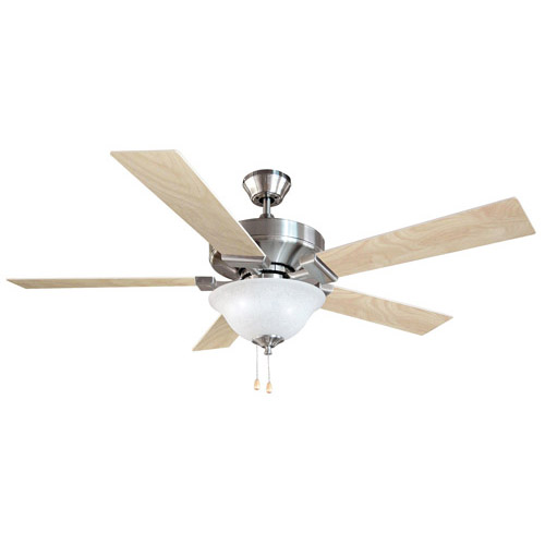 Design House Ironwood 52 Inch 2-Light 5-Blade Energy Star Ceiling Fan, Redwood or Light Maple Blades, Satin Nickel Finish - 154070