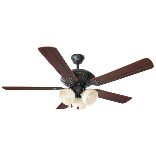 Design House Trevie 52 Inch 3-Light 5-Blade Ceiling Fan, Dark Mahogany or Bleached Oak Blades, Oil Rubbed Bronze Finish - 154120