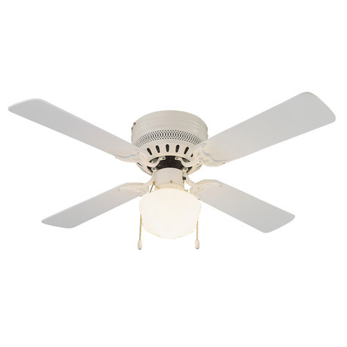 Design House Millbridge 42 Inch 1-Light 4-Blade Hugger Mount Ceiling Fan, Bleached Oak or White Blades, White Finish - 157958