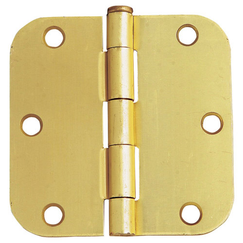 Design House 6-Hole 5/8inch Radius Door Hinge, 3.5inch by 3.5inch, Satin Brass Finish - 202473