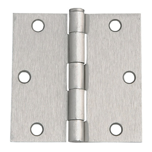 Design House 6-Hole Square Door Hinge, 3.5inch by 3.5inch, Satin Nickel Finish - 202515