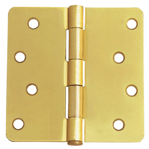 Design House 8-Hole 1/4inch Radius Door Hinge, 4inch by 4inch, Satin Brass Finish - 202531