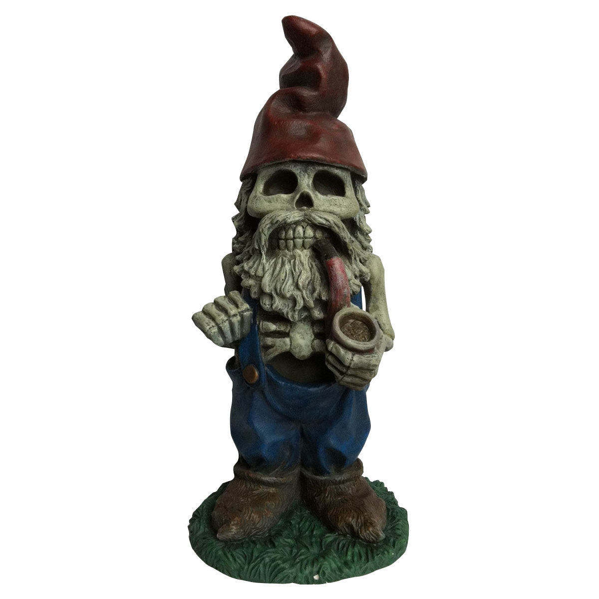 Design House 19 in. Skeleton Man Gnome with Pipe Lawn Halloween Decoration - 319657