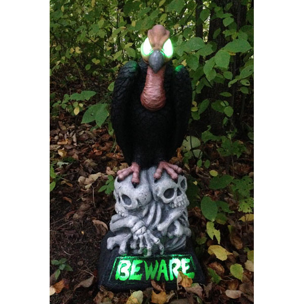 Design House 28.25 in. LED Beware Vulture Light-Up Lawn Halloween Decoration - 319665
