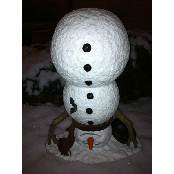Design House Upside Down Snowman Lawn Holiday Christmas Decoration, 20x16.1-inches - 319707