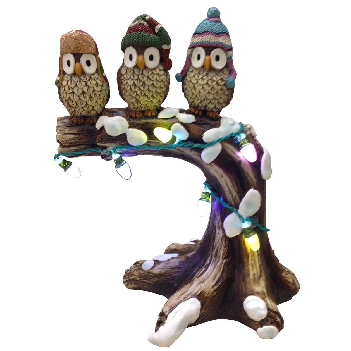 Design House 10.6 in. LED Owls on a Tree Branch Light-Up Lawn Holiday Christmas Decoration - 319715