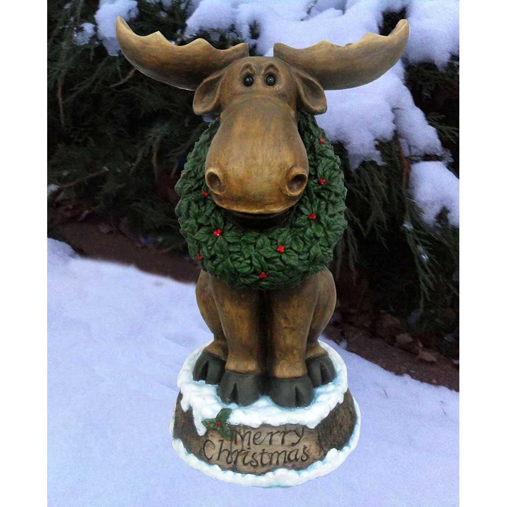 Design House 23 in. LED Merry Christmas Moose with Wreath Light-Up Lawn Decoration - 319749