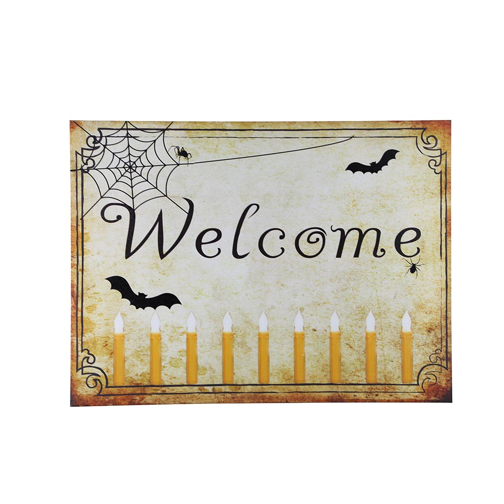 Design House Welcome Halloween Lit Canvas Wall Decoration, 18x24-inches - 319780