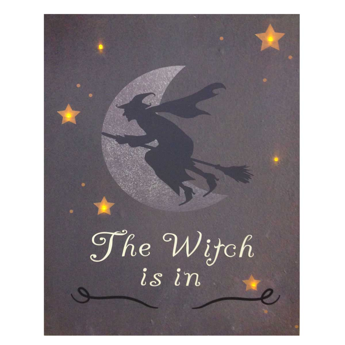 Design House The Witch is In Lit Canvas Halloween Wall Decoration, 18x24-inches - 319798