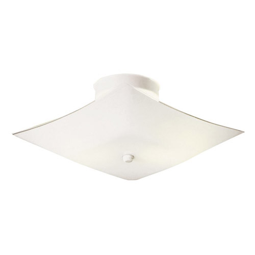 Design House 2-Light 13.5inch White Square Glass Ceiling Mount, White Finish - 501353