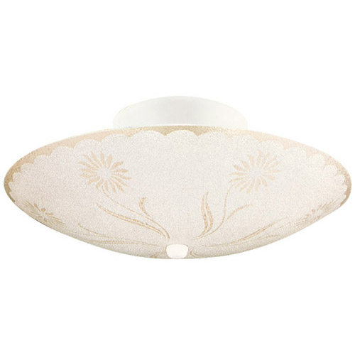 Design House 2-Light Textured Floral Ceiling Mount, White Finish - 501619