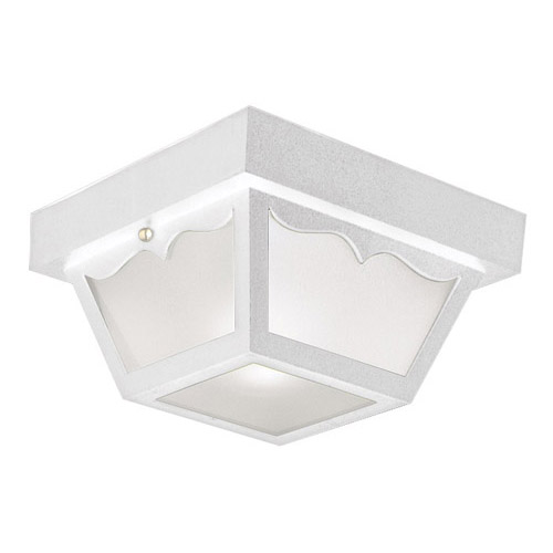 Design House Outdoor Ceiling Mount Light, 10.5inch by 5.5inch, White Polypropylene Finish - 501858