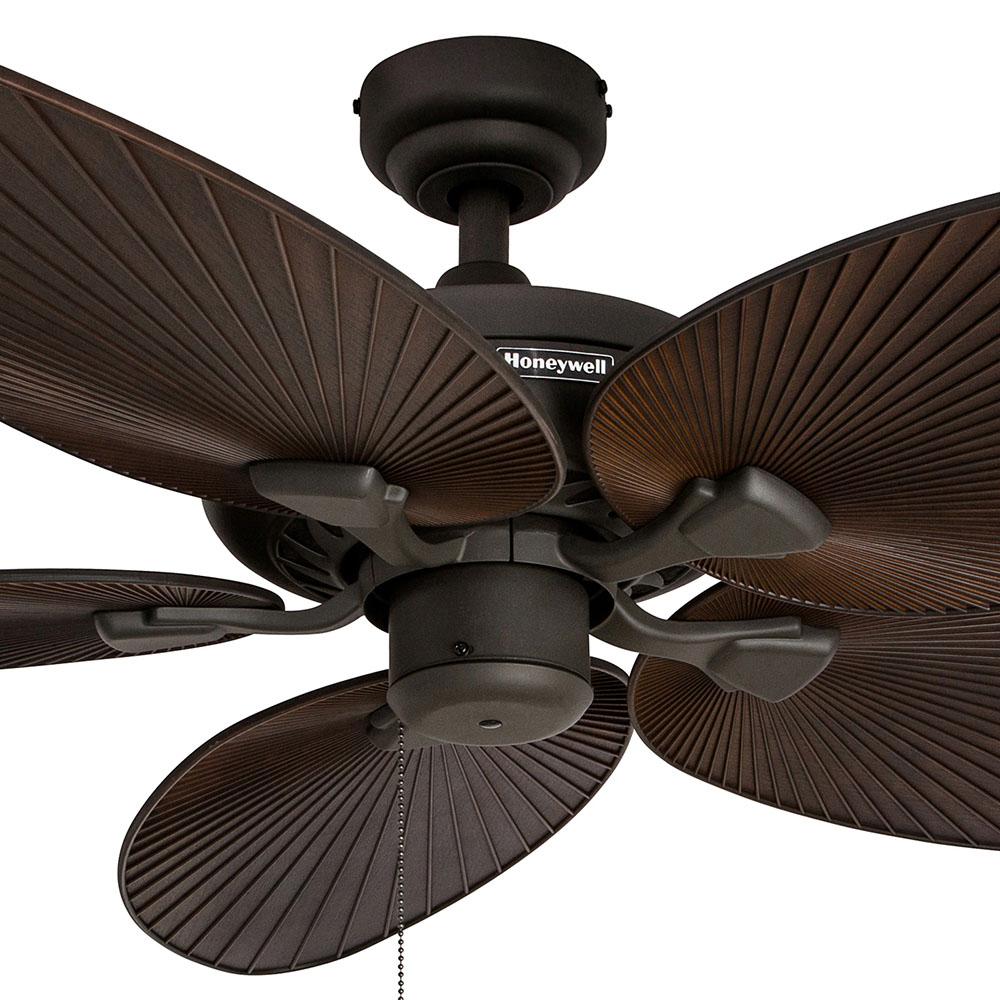 Ceiling Fan Tropical Blades: Honeywell Palm Island Ceiling Fan, Bronze Finish, 52 Inch