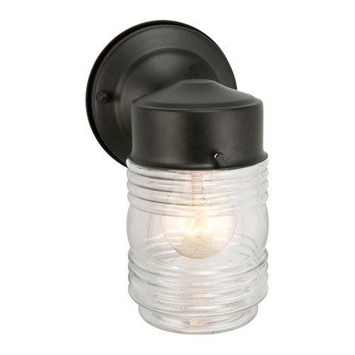 Design House Jelly Jar Outdoor Downlight, 4.5inch by 7.5inch, Black Finish - 502195