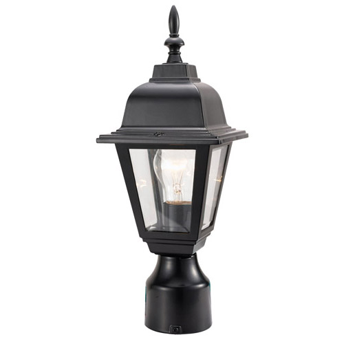 Design House Maple Street Outdoor Post Light, 6inch by 16inch, Black Die-Cast Aluminum Finish - 507509