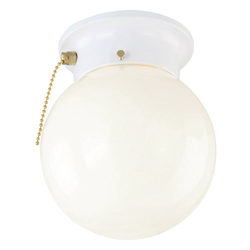 Design House 1-Light Glass Globe Ceiling Mount with Pull Chain, White Finish - 510040