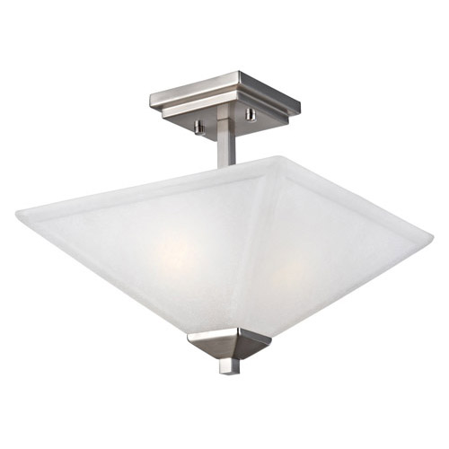 Design House Torino 2-Light Semi Flush Ceiling Light, Satin Nickel Finish - 514802
