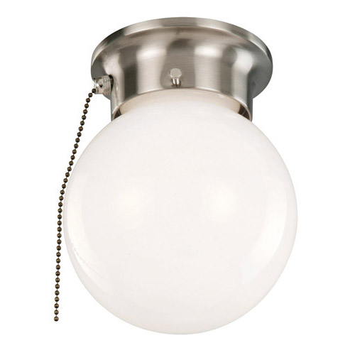 Design House 1-Light Ceiling Mount Globe Light with Pull Chain, Satin Nickel Finish - 519272