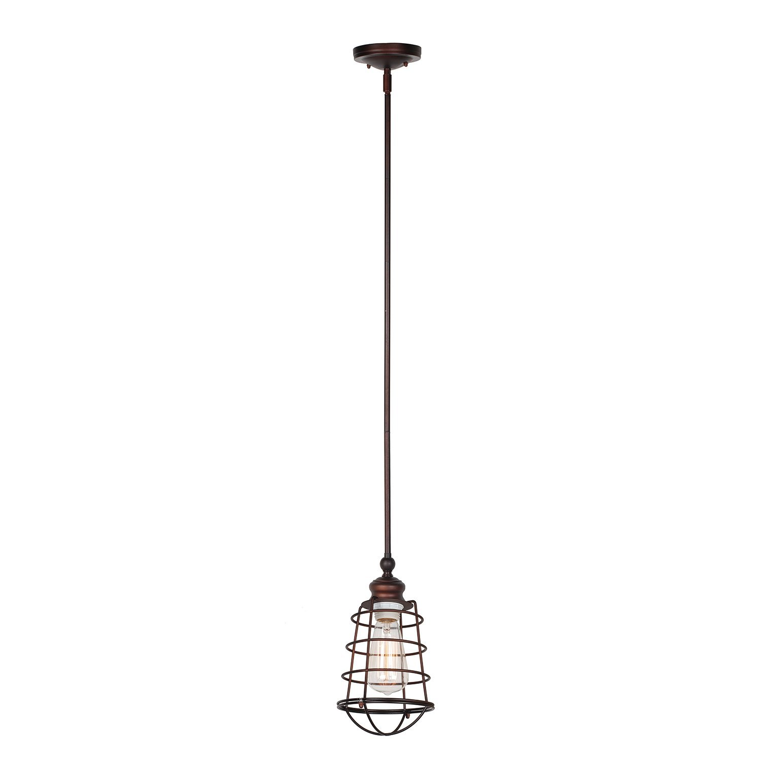Design House Ajax 1-Light Mini Pendant, Coffee Textured Brown - 519652