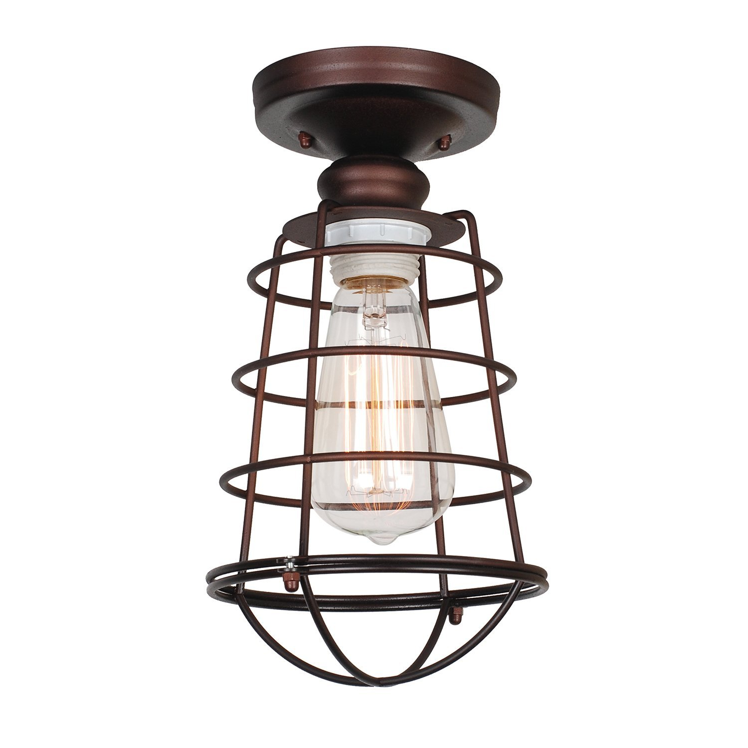 Design House Ajax 1-Light Ceiling Mount Industrial Light, Coffee Bronze Finish - 519694