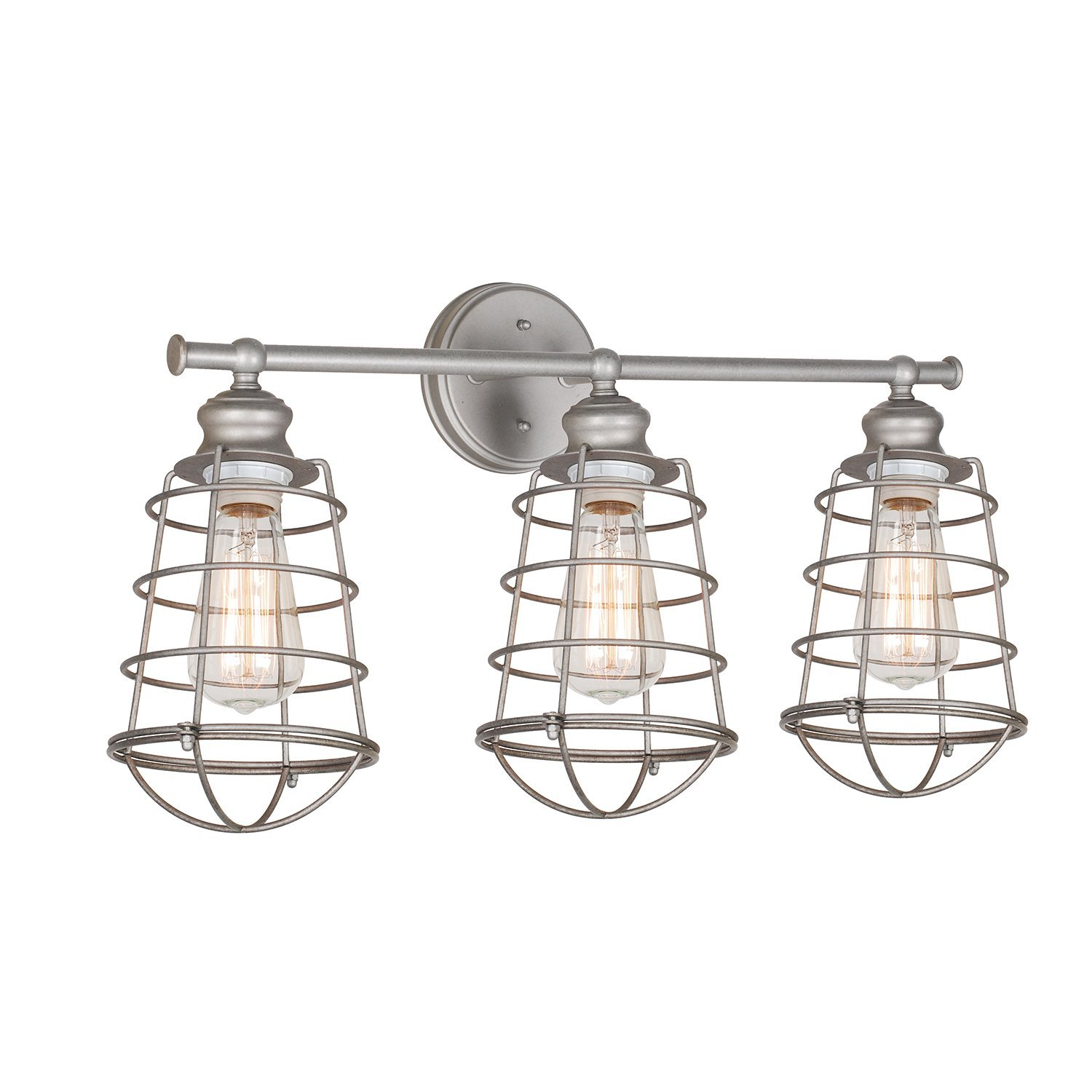 Design House Ajax 3-Light Bathroom Vanity Light, Galvanized Steel Finish - 519728