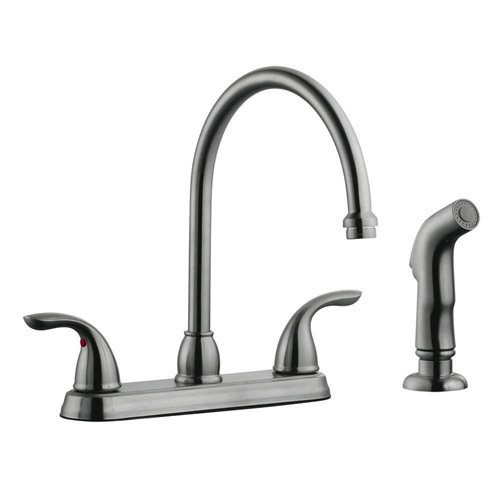 Design House Ashland High Arch Kitchen Faucet with Sprayer, Satin Nickel Finish  - 525089