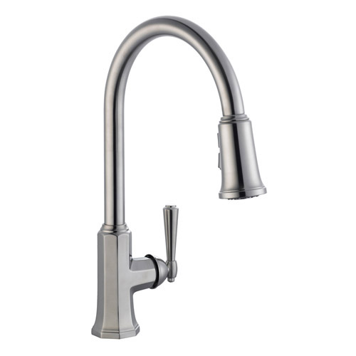 Design House Barcelona Kitchen Faucet with Pullout Sprayer, Satin Nickel Finish - 525683