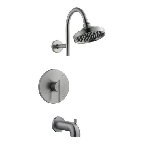 Design House Geneva Tub and Shower Faucet, Satin Nickel Finish - 525691