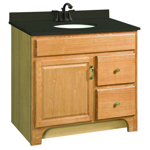 Design House Richland Nutmeg Oak Vanity Cabinet with 1-Door and 2-Drawers, 36in x 33.5in - 530402