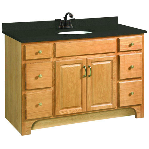 Design House Richland Nutmeg Oak Vanity Cabinet with 2-Doors and 4-Drawers, 48in x 33.5in - 530410