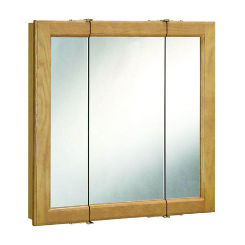 Design House Richland Nutmeg Oak Tri-View Medicine Cabinet Mirror with 3-Doors, 36in x 30in - 530576