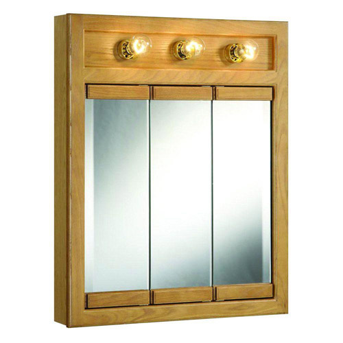 Design House Richland Nutmeg Oak Lighted Tri-View Wall Cabinet Mirror with 3-Doors, 24in x 30in - 530592