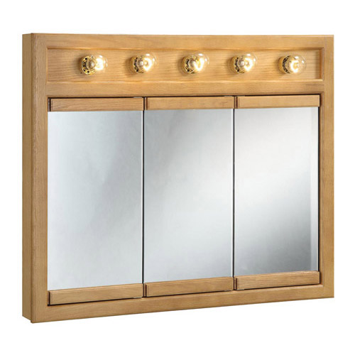 Design House Richland Nutmeg Oak Lighted Tri-View Wall Cabinet Mirror with 3-Doors, 36in x 30in - 530618