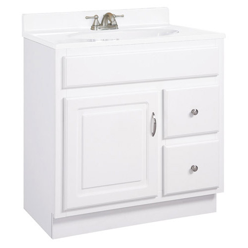 Design House Concord White Gloss Vanity Cabinet with 1-Door and 2-Drawers, 24in x 18in x 30in  - 531269