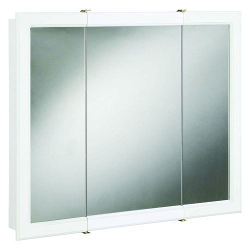 Design House Concord White Gloss Tri-View Medicine Cabinet Mirror with 3-Doors, 30in x 5.25in x 30in - 531434