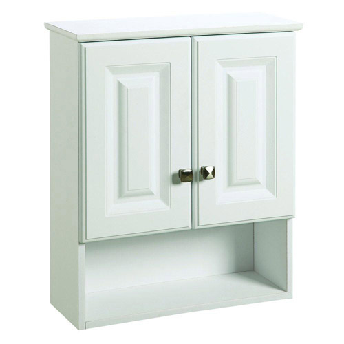 Design House Wyndham White Semi-Gloss Bathroom Wall Cabinet with 2-Doors and 1-Shelf, 22in x 8in x 26in - 531715