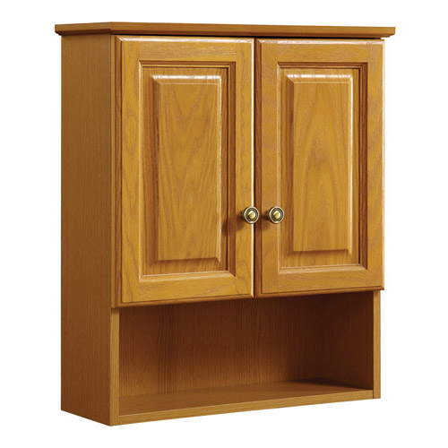 Design House Claremont Honey Oak Wall Cabinet with 2-Doors, 21in x 8in x 26in - 531962