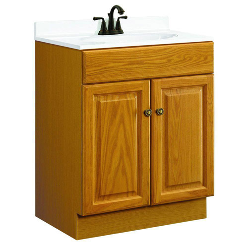 Design House Claremont Honey Oak Vanity Cabinet with 2-Doors, 24in x 18.5in x 31.5in - 531988