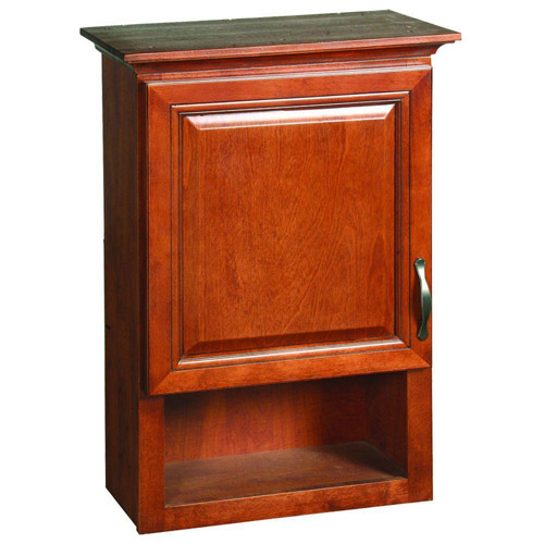 Design House Montclair Chestnut Glaze Wall Cabinet with 1-Door and 1-Shelf, 30in x 21in - 538587