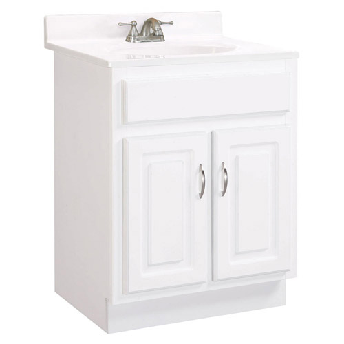 Design House Concord White Gloss Vanity Cabinet with 2-Doors, 24in x 21in x 30in - 541029