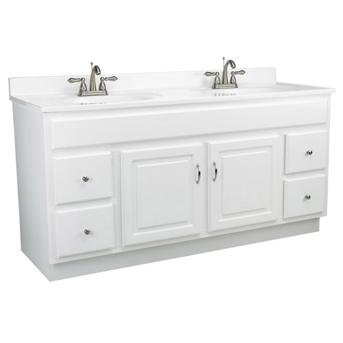 Design House Concord White Gloss Vanity Cabinet with 2-Doors and 4-Drawers, 60in x 21in x 30in - 541078