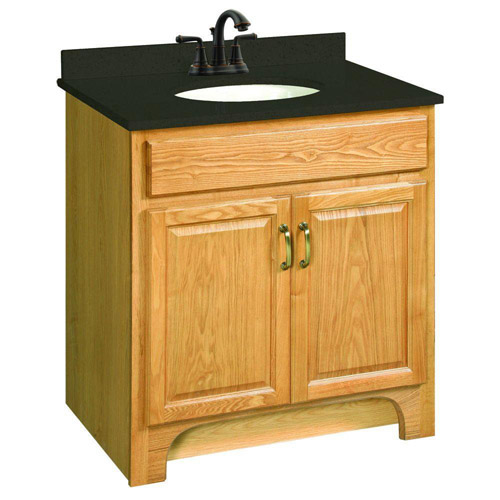Design House Richland Nutmeg Oak Vanity Cabinet with 2-Doors, 30in x 18in - 541144