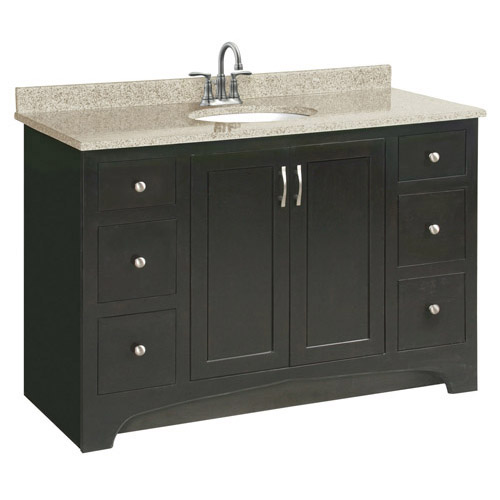 Design House Ventura Espresso Vanity Cabinet with 2-Doors and 4-Drawers, 48in x 33.5in - 541292