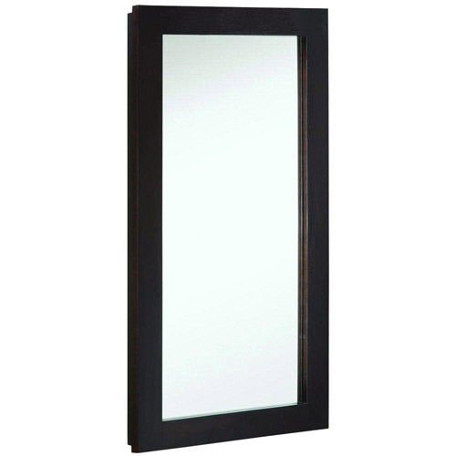 Design House Ventura Single Door Medicine Cabinet Mirror, 16in x 30in, Espresso Finish - 541326