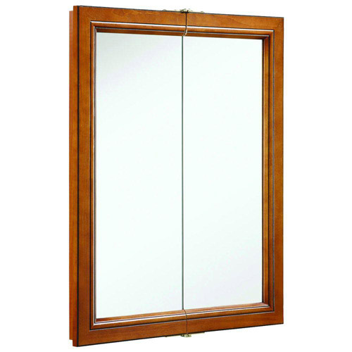 Design House Montclair Chestnut Glaze Double Door Medicine Cabinet Mirror with Solid Wood Frame, 24in x 30in - 541383