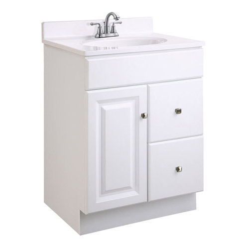 Design House Wyndham White Semi-Gloss Vanity Cabinet with 1-Door and 2-Drawers, 24in x 18in x 31.5in - 545004