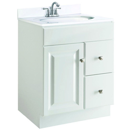 Design House Wyndham White Semi-Gloss Vanity Cabinet with 1-Door and 2-Drawers, 24in x 21in x 31.5in  - 545053