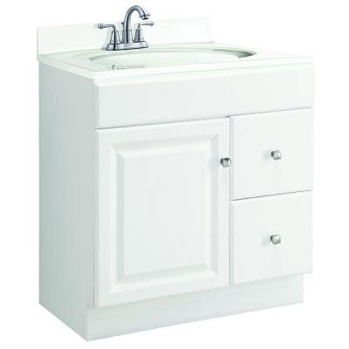 Design House Wyndham White Semi-Gloss Vanity Cabinet with 1-Door and 2-Drawers, 30in x 21in x 31.5in  - 545079